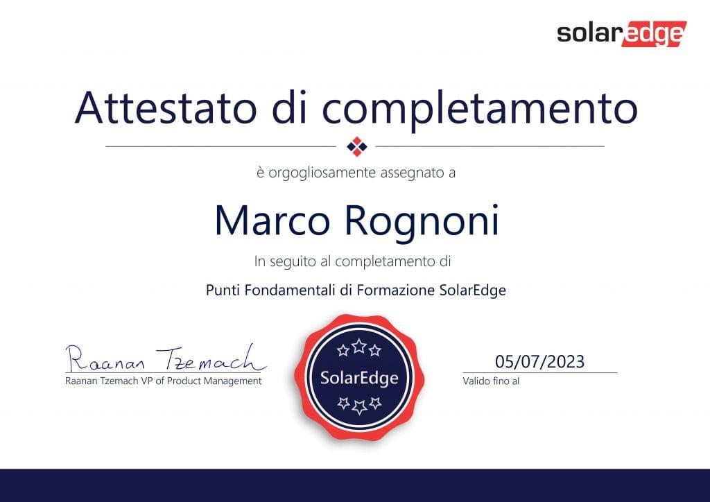Certificato SolarEdge Meridiana Energia